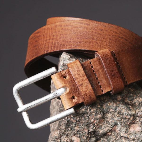 Faulhaber Products BIL belt in cognac vegetal tanned leather