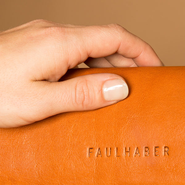 Faulhaber Products quality manufacturing of ROTA handbag in cognac vegetal tanned leather