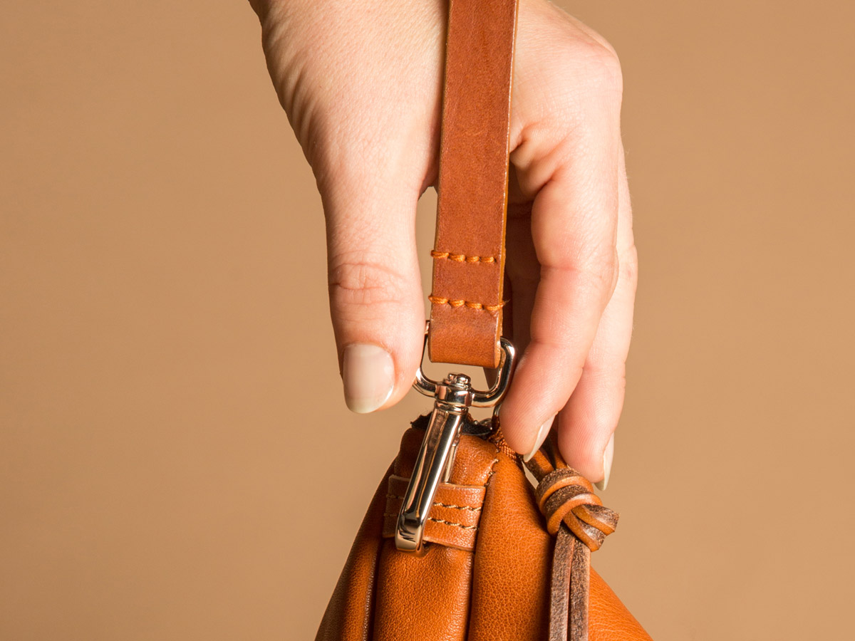 Clip of Faulhaber Products ASK multifunction bag in cognac vegetal tanned leather