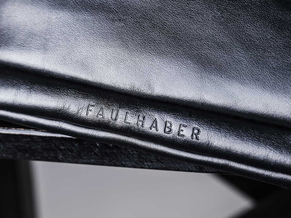 Bottom of Faulhaber Products ASK multifunction bag in black vegetal tanned leather