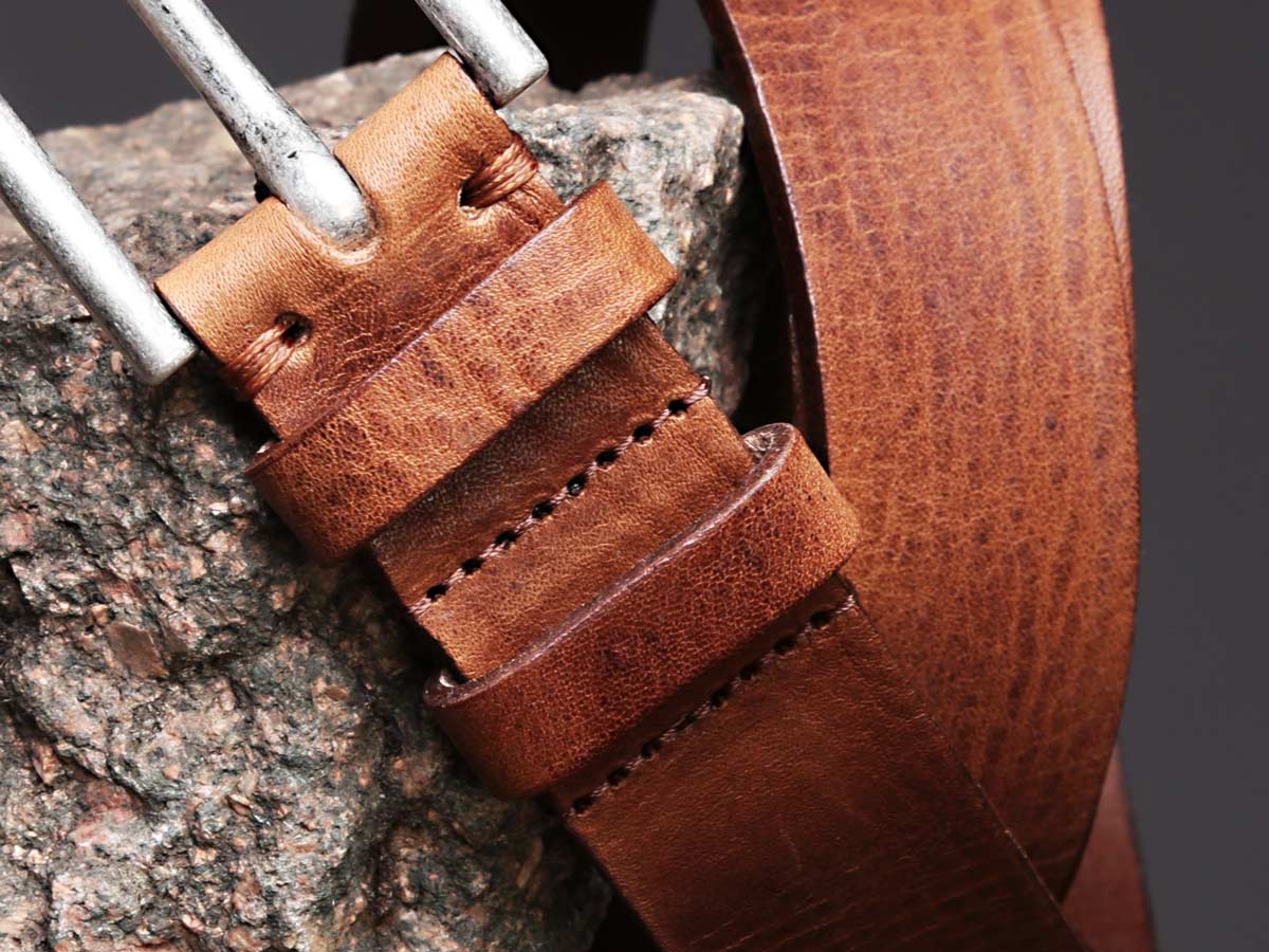 Faulhaber Products BIL belt in cognac vegetal tanned leather