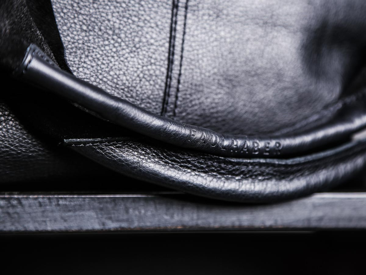 Top handles of Faulhaber Products LIF totebag in black leather mix