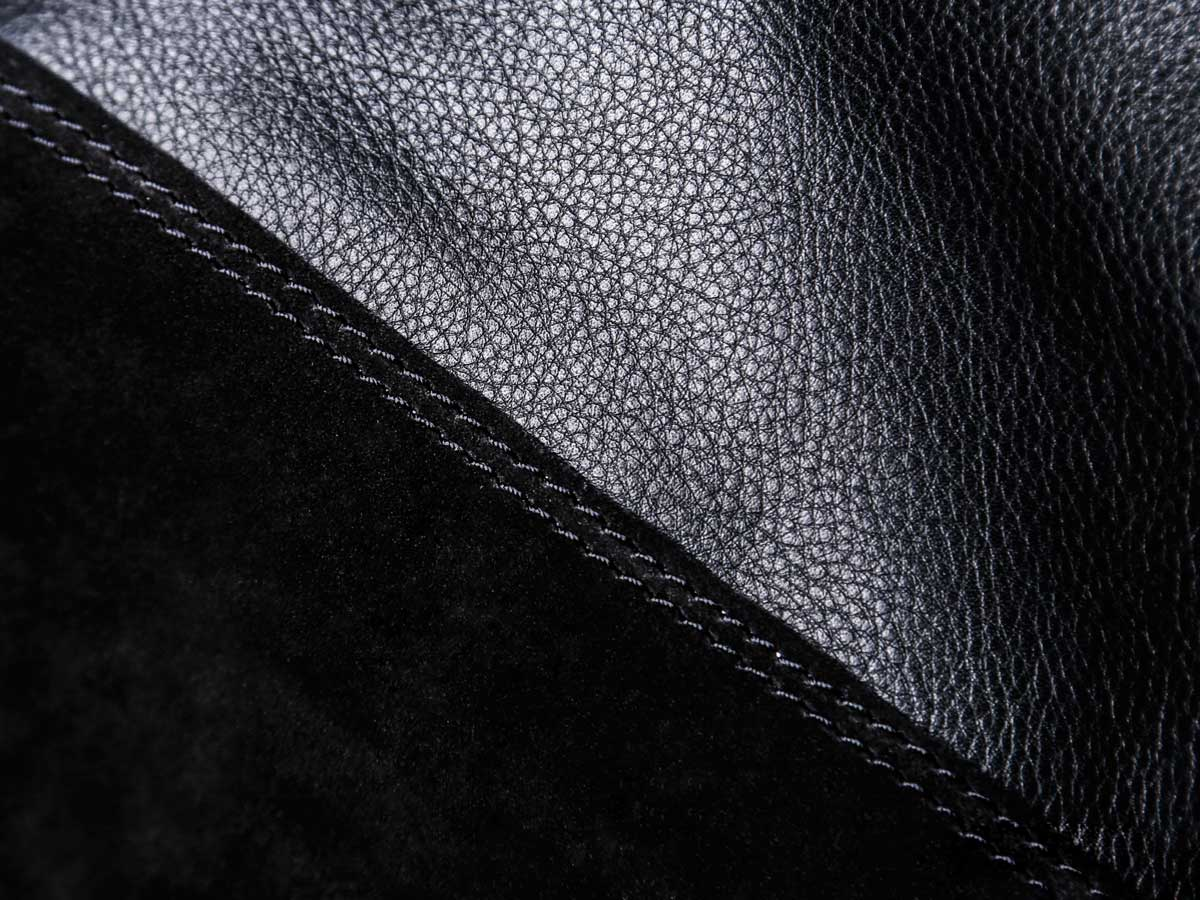Material view of Faulhaber Products LIF totebag in black leather mix