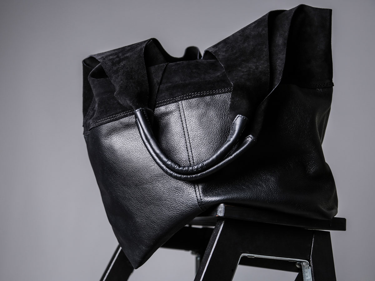 Front view of Faulhaber Products LIF totebag in black leather mix