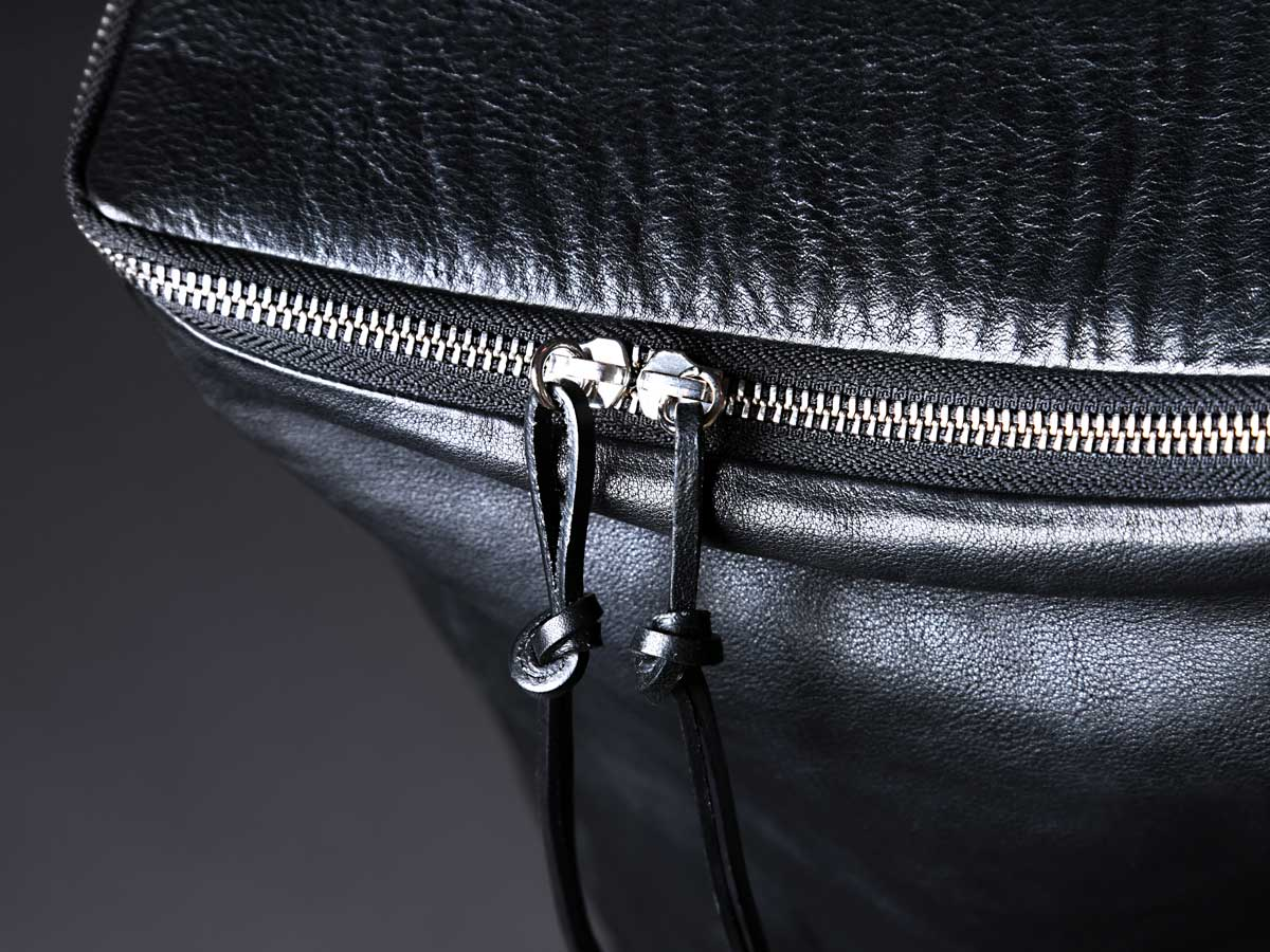 Faulhaber Products OTR backpack zip detail in black vegetal tanned leather