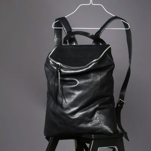 Front view of Faulhaber Products OTR backpack in black vegetal tanned leather