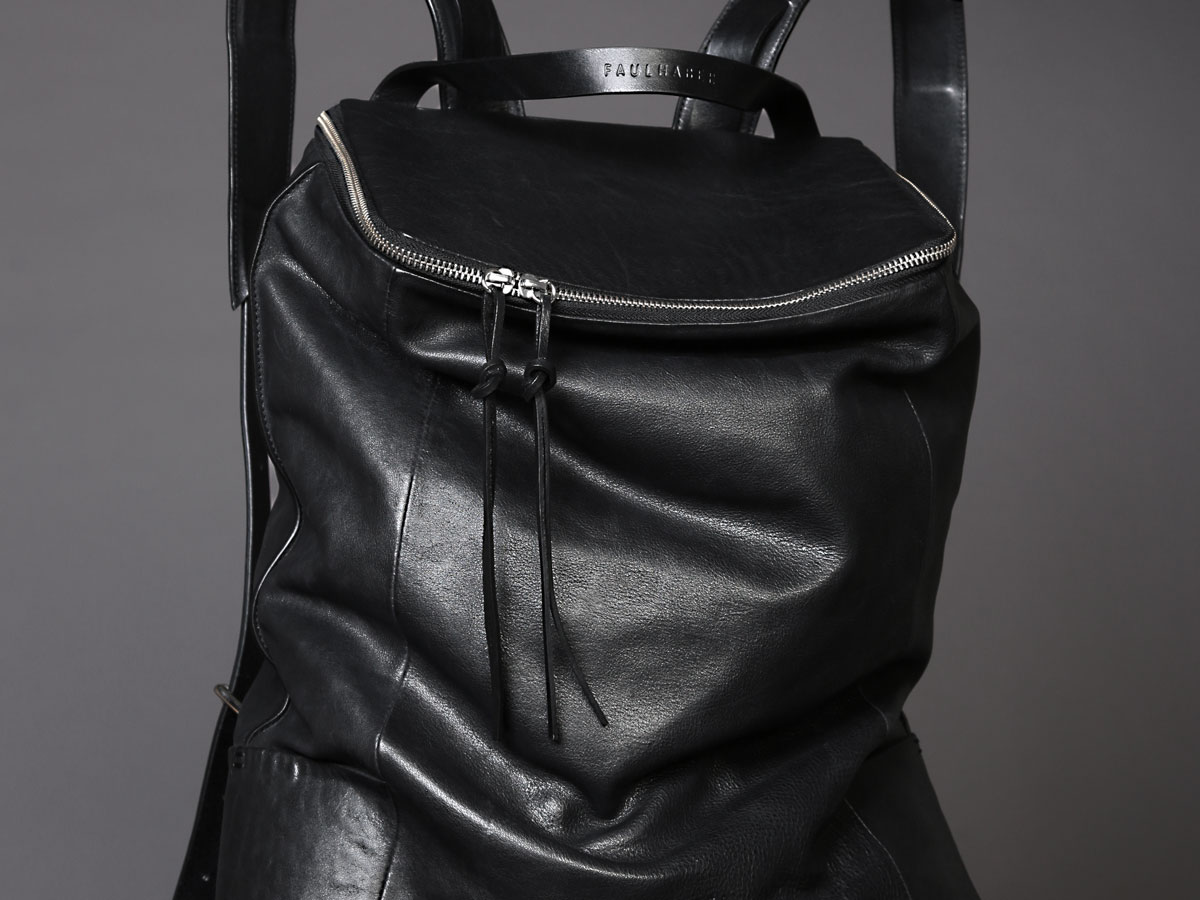 Faulhaber Products OTR backpack in black vegetal tanned leather