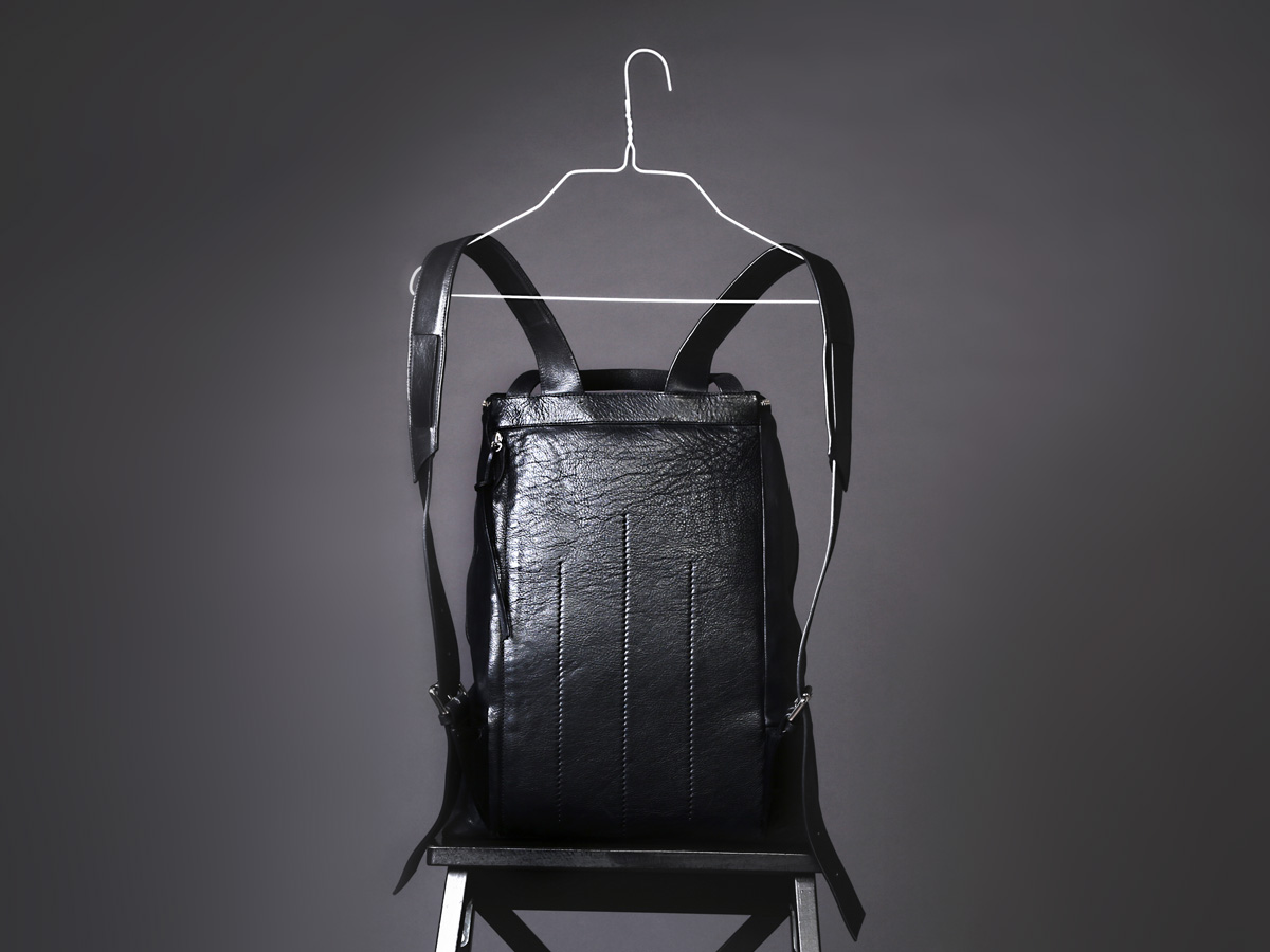 Back view of Faulhaber Products OTR backpack in black vegetal tanned leather