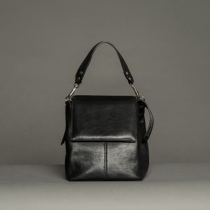 Faulhaber Products ROTA handbag from black shiny leather in arm carry option