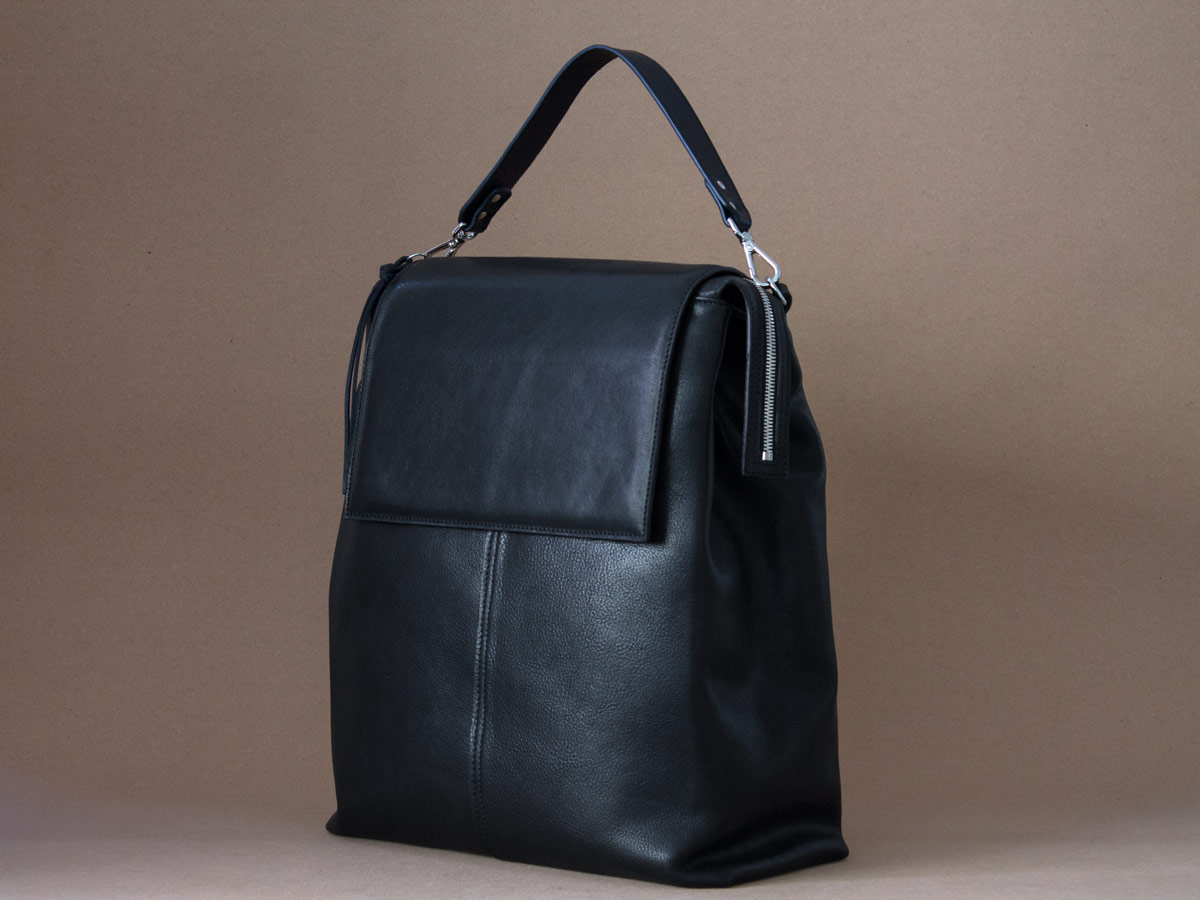 Faulhaber Products ROTA handbag made from black vegetal tanned leather