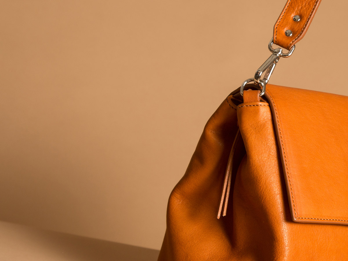 Faulhaber Products detail of ROTA handbag in cognac vegetal tanned leather