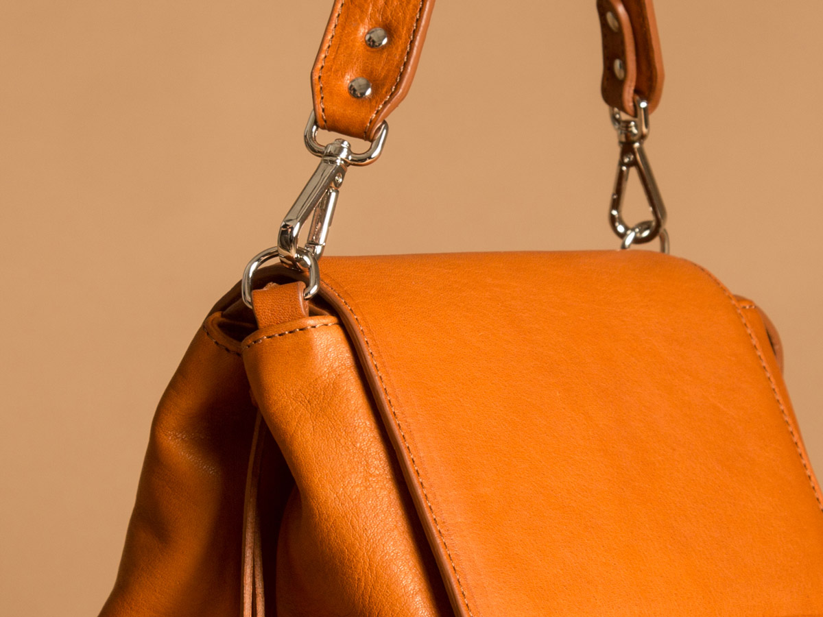 Detail of ROTA handbag in cognac vegetal tanned leather by Faulhaber Products