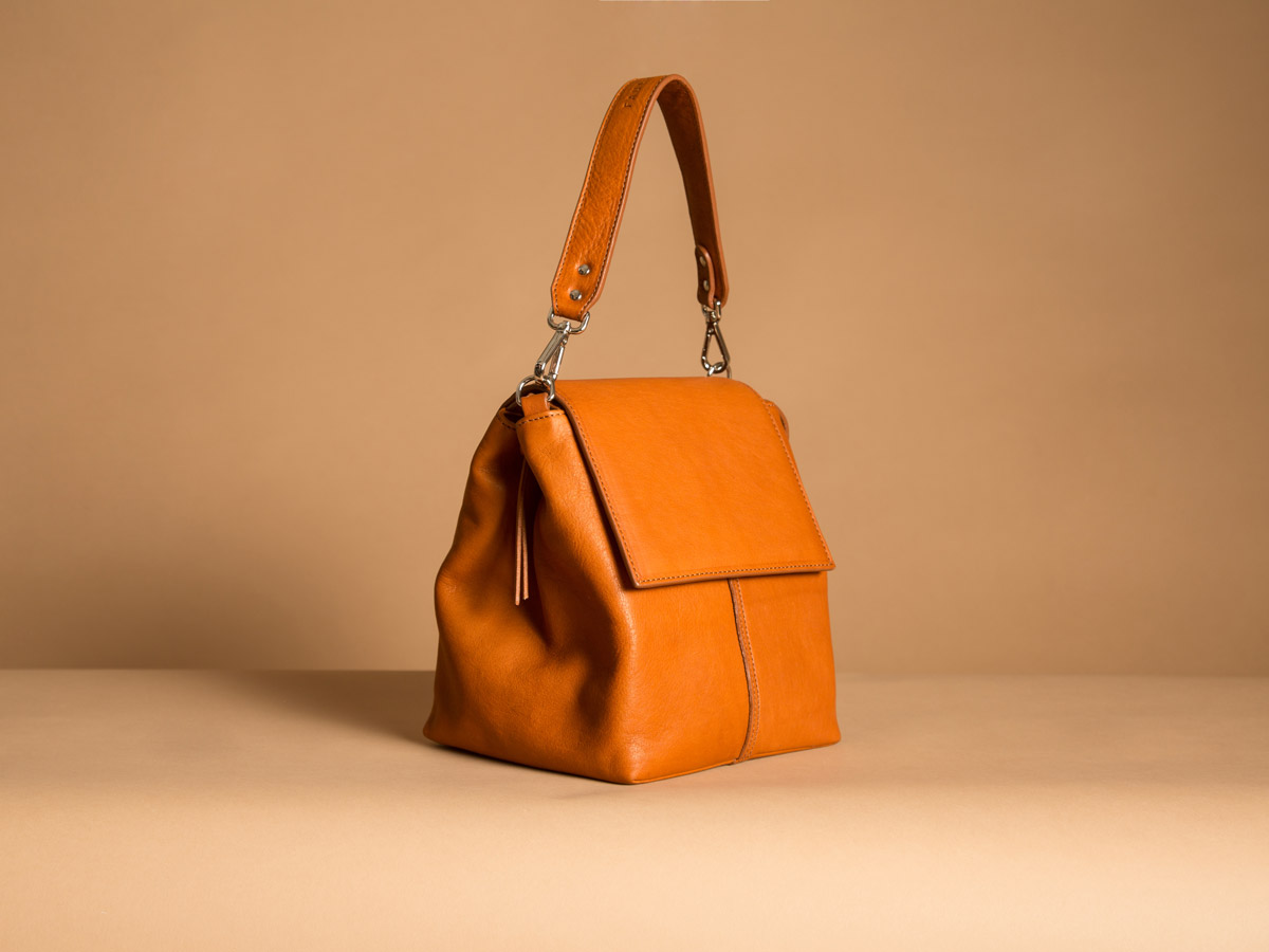 Side view of Faulhaber Products ROTA handbag from cognac vegetal tanned leather