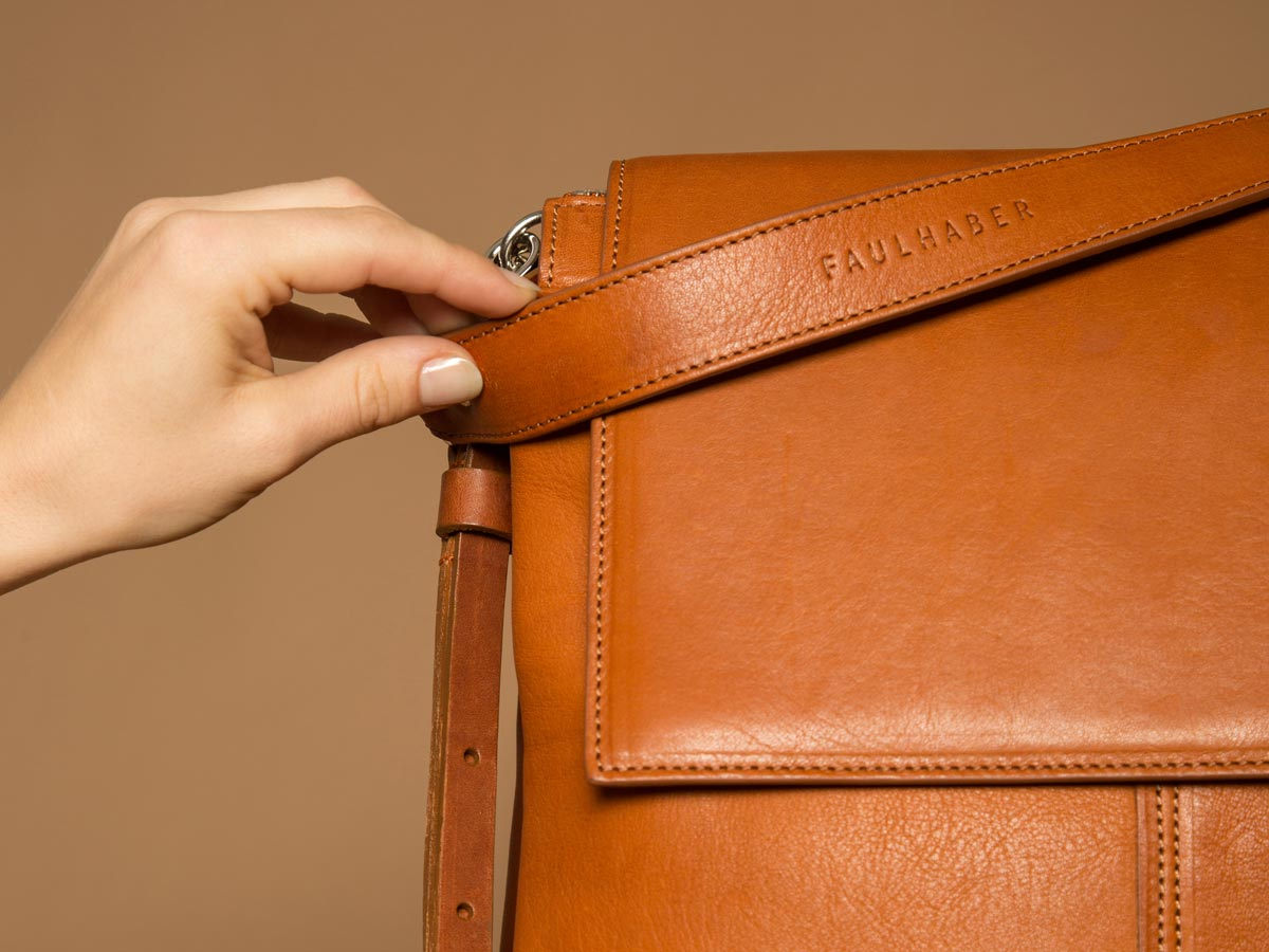 Hands on Faulhaber Products ROTA handbag in cognac vegetal tanned leather