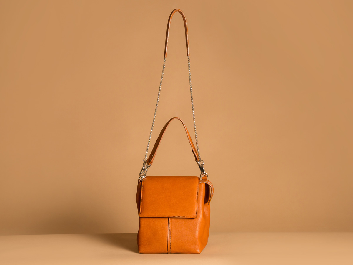 Front view ROTA handbag in cognac vegetal tanned leather by Faulhaber Products