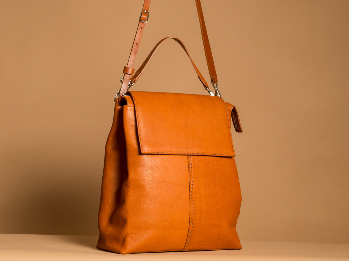Side view of Faulhaber Products ROTA handbag in cognac vegetal tanned leather