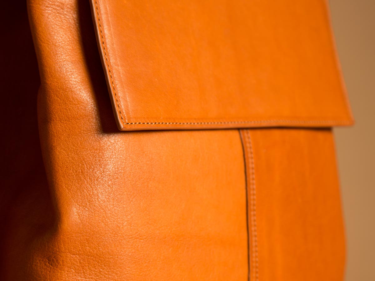 Details of Faulhaber Products ROTA handbag in cognac vegetal tanned leather.