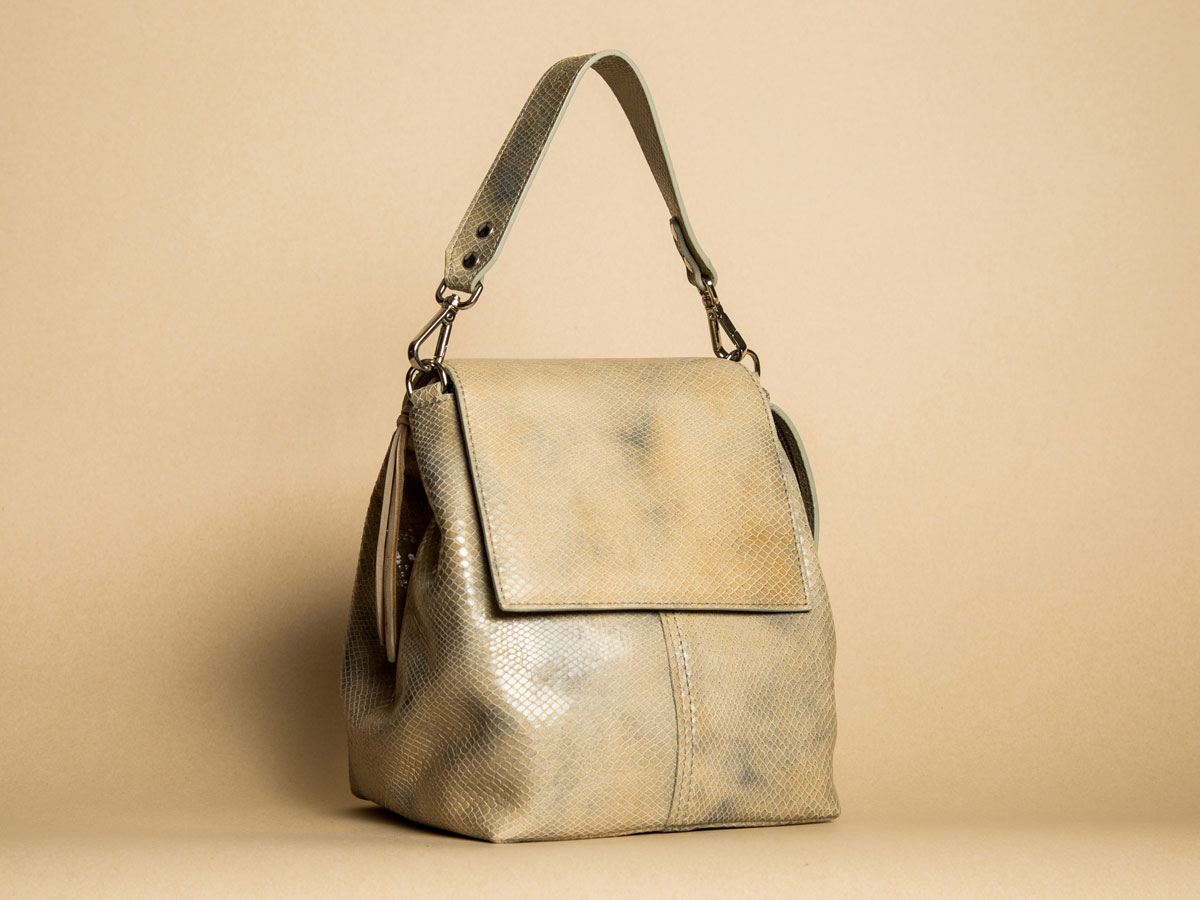 Faulhaber Products ROTA handbag in special laser cut fake snake leather