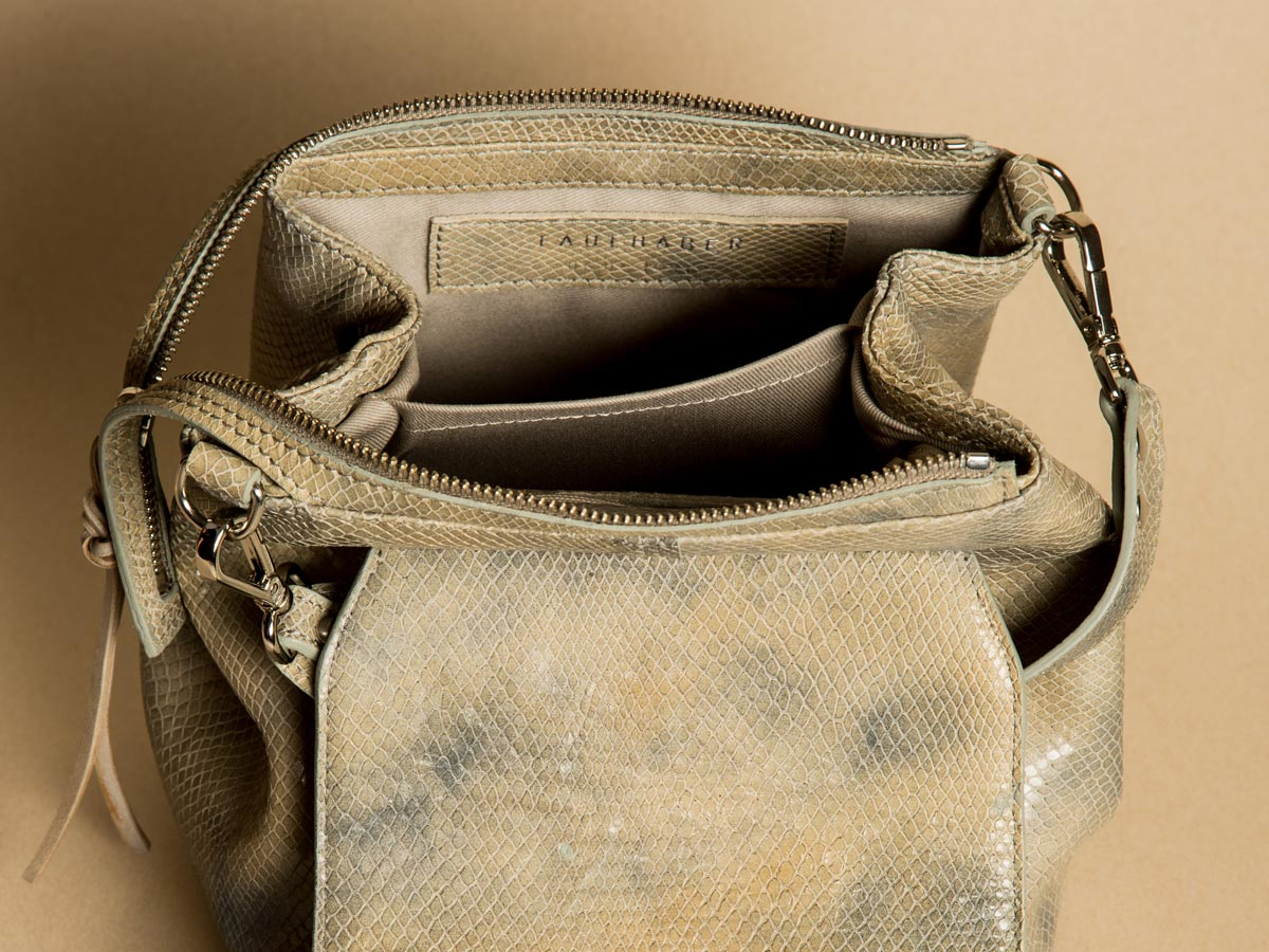 Inside view of Faulhaber Products ROTA handbag in special fake snake leather