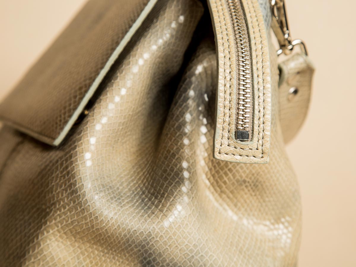 Zip detail of Faulhaber Products ROTA handbag in special fake snake leather