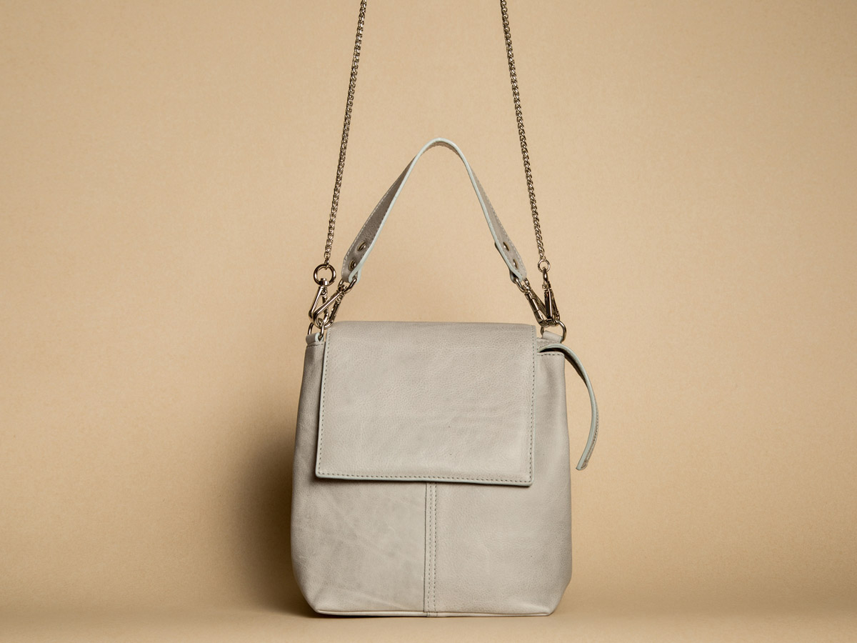 Front view of Faulhaber Products ROTA handbag in grey cow leather