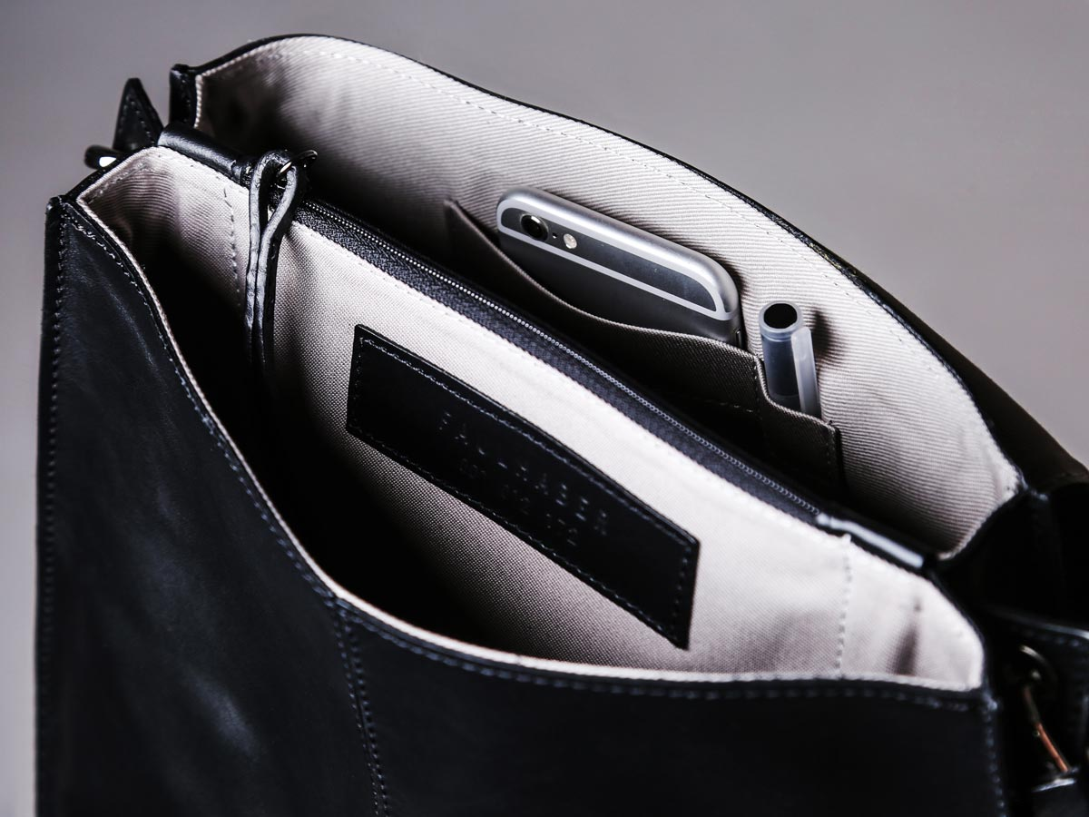 Insert of Faulhaber Products SOL handbag in black natural leather