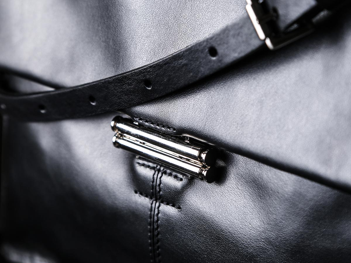 Fastener of Faulhaber Products SOL handbag in black natural leather