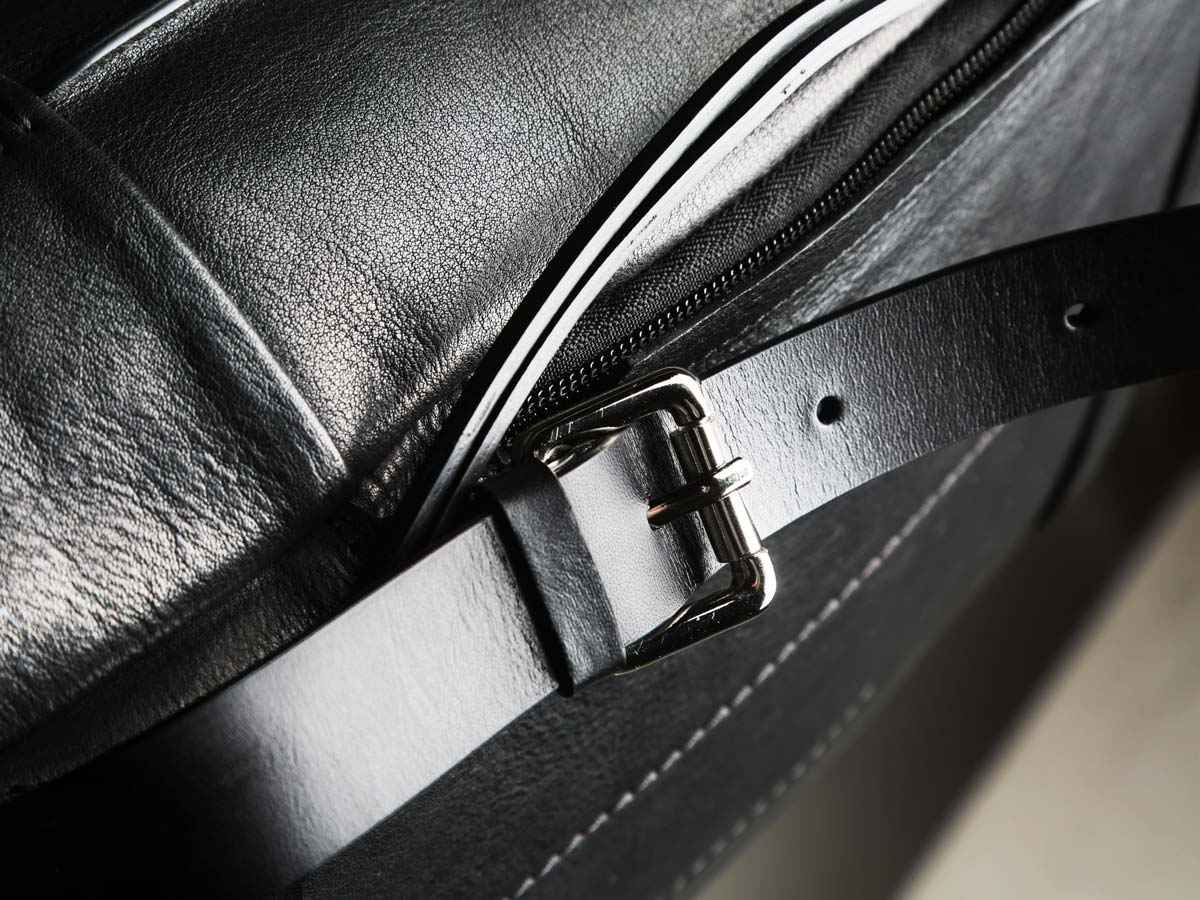 Buckle of Faulhaber Products SYN backpack in black leather