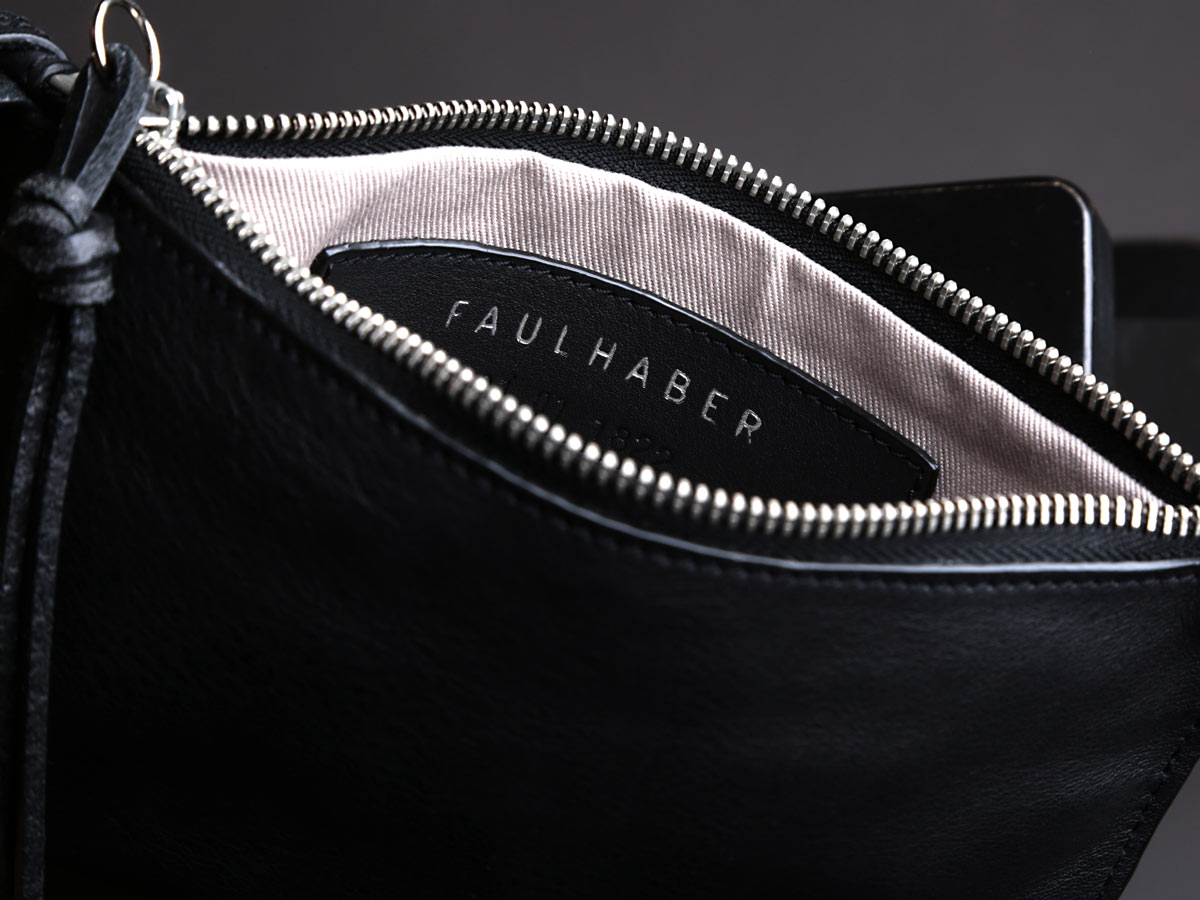 Insert view of Faulhaber Products VAR handbag in black vegetal tanned leather