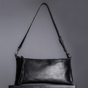 Front view of Faulhaber Products VAR handbag in black vegetal tanned leather