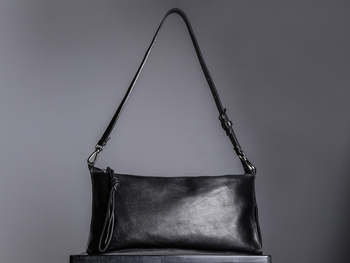 Front view of Faulhaber Products VAR handbag in black vegetal tanned leather
