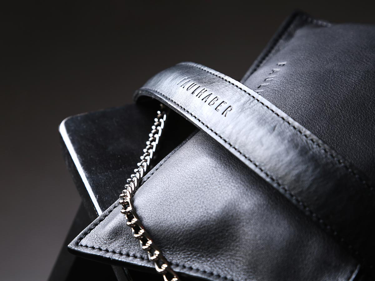 Faulhaber Products BURA chain handle and VAR handbag in black vegetal tanned leather
