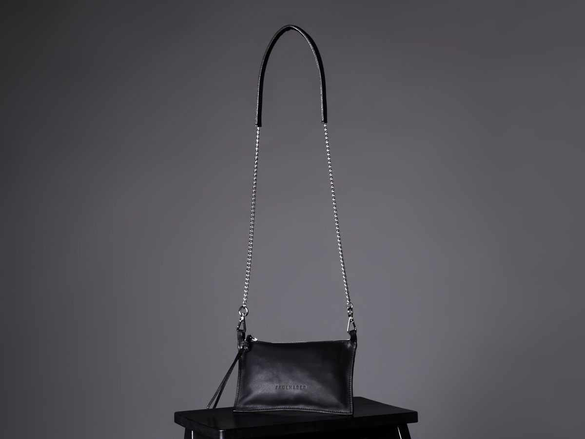 Faulhaber Products VAR handbag in black leather with BURA chain handle