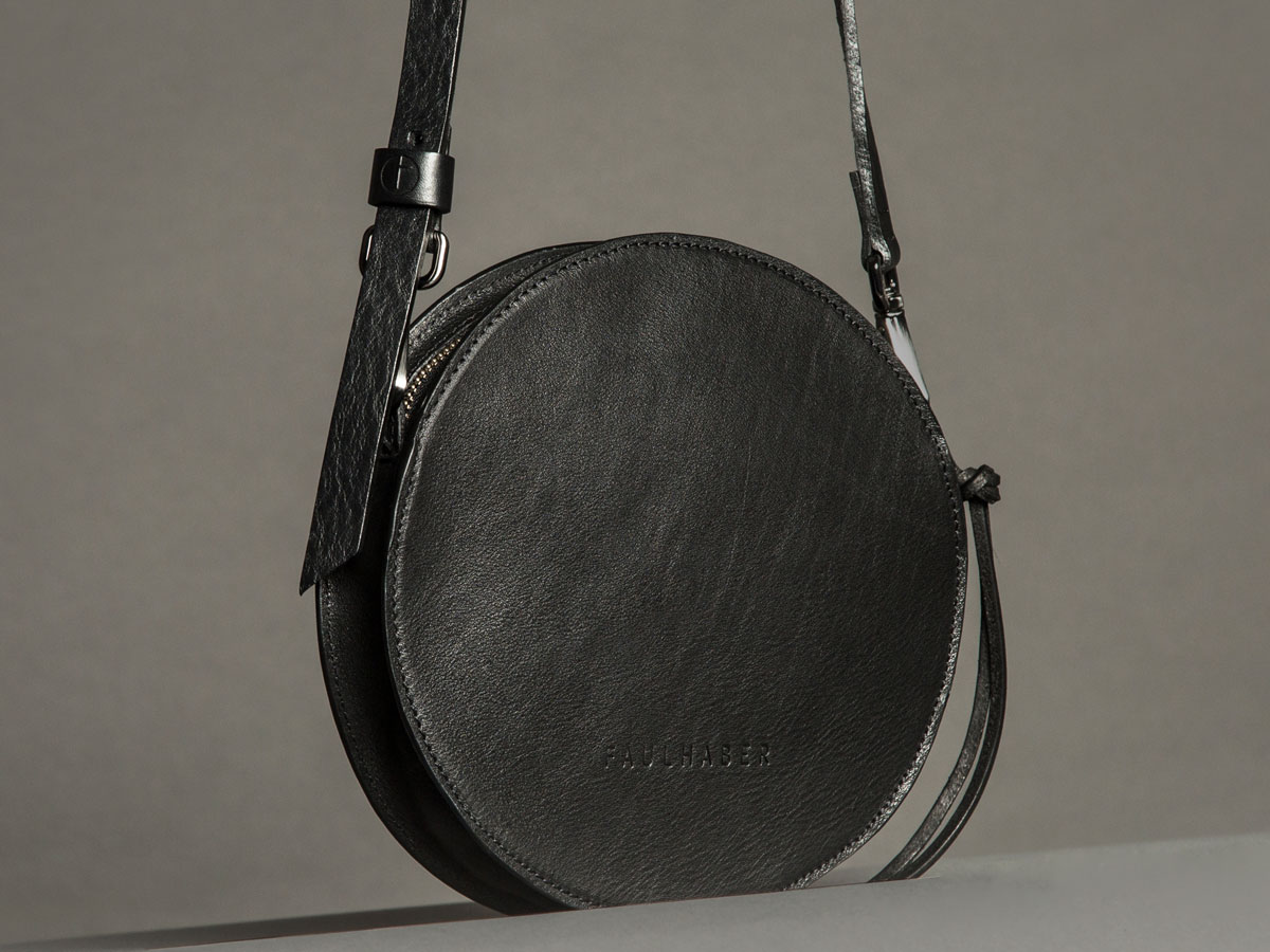 Faulhaber Products VE handbag in black shiny vegetal tanned leather