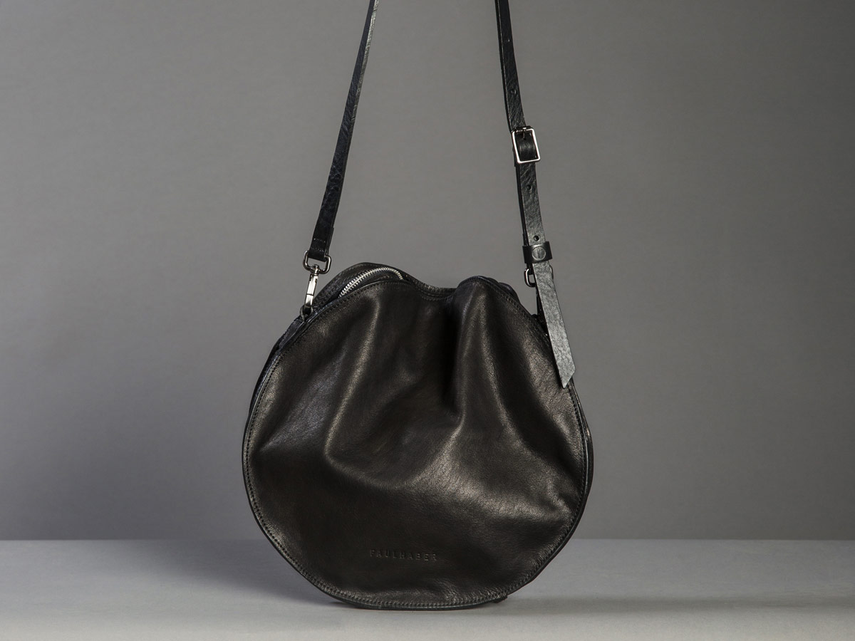Faulhaber Products VE smooth handbag in black shiny vegetal tanned leather.