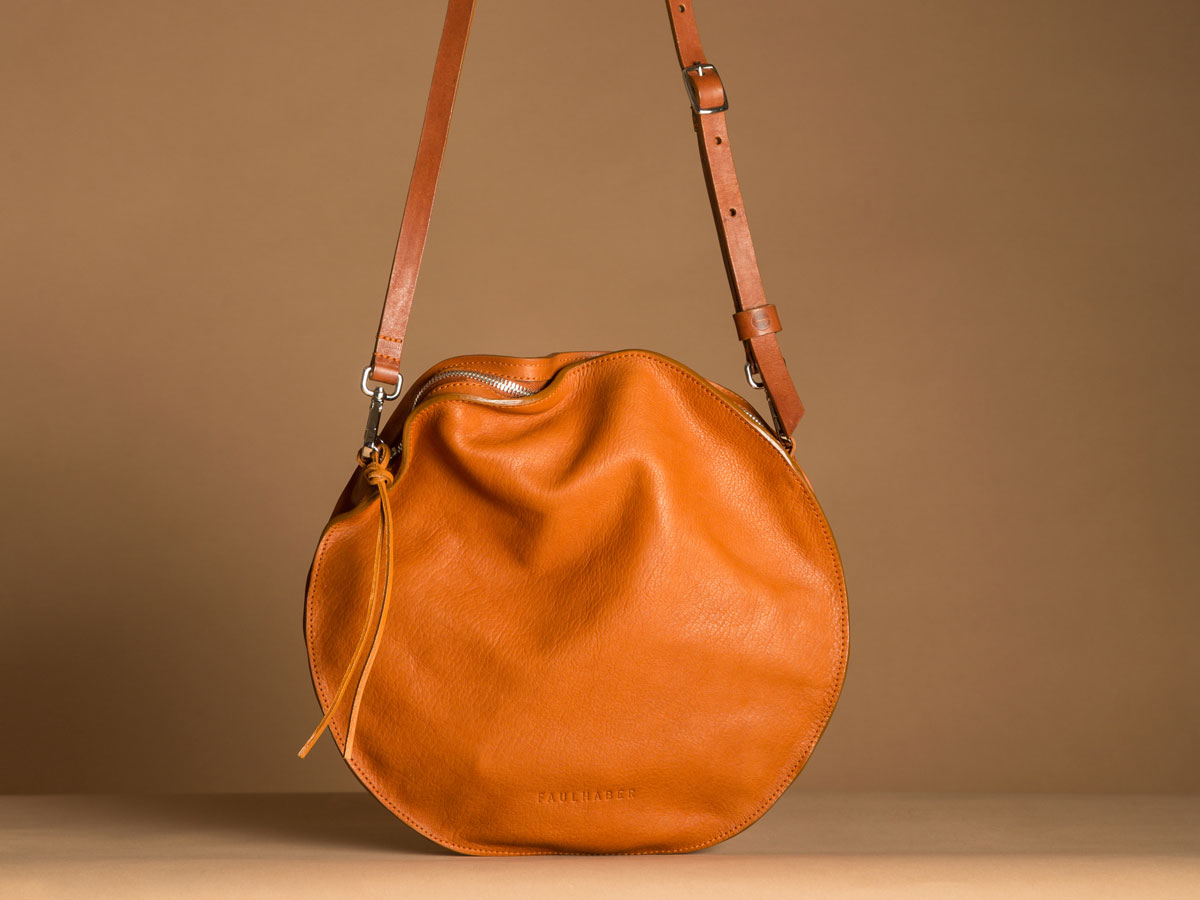Faulhaber Products VE smooth handbag in cognac vegetal tanned leather.