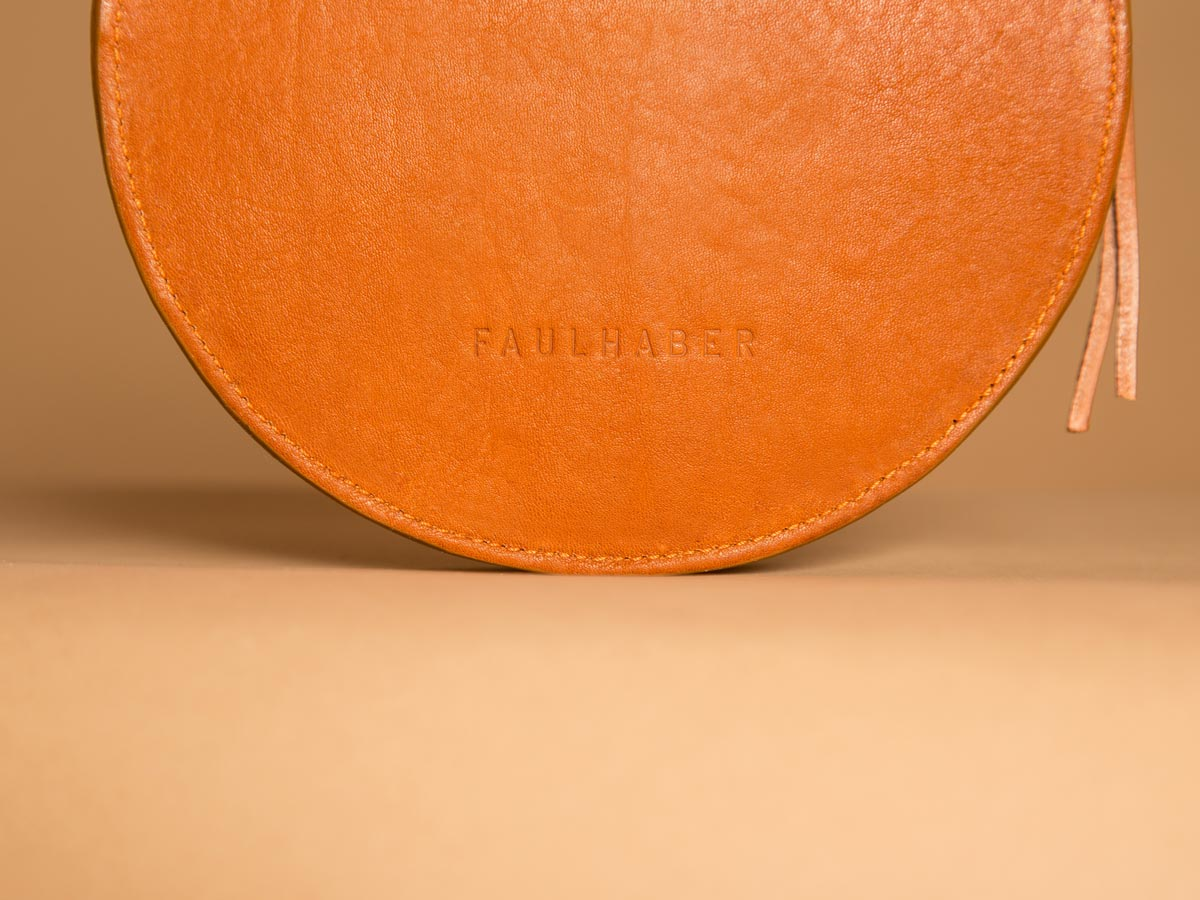 Faulhaber Products embossment on VE handbag in cognac vegetal tanned leather