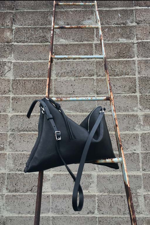 Berlin roof and Faulhaber Products ASK multifunction bag in black vegetal tanned leather
