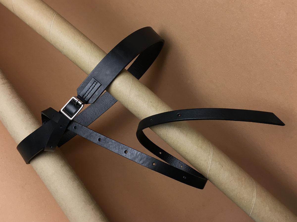Faulhaber Products BORR belt in black vegetal tanned leather