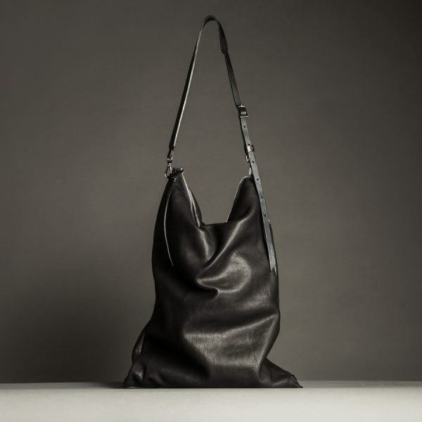 ASK multipurpose overnight bag in black vegetal tanned leather