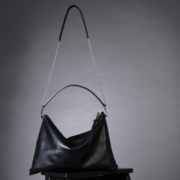 Faulhaber Products ASK multifunction bag in black vegetal tanned leather & BURA chain strap