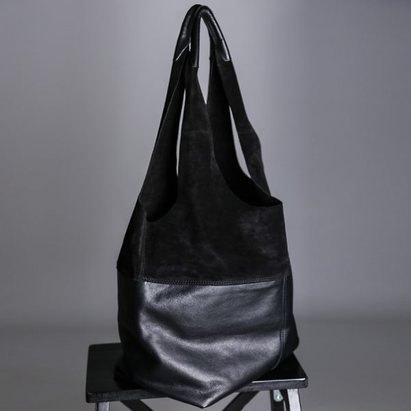 Side view of Faulhaber Products LIF totebag in black leather mix