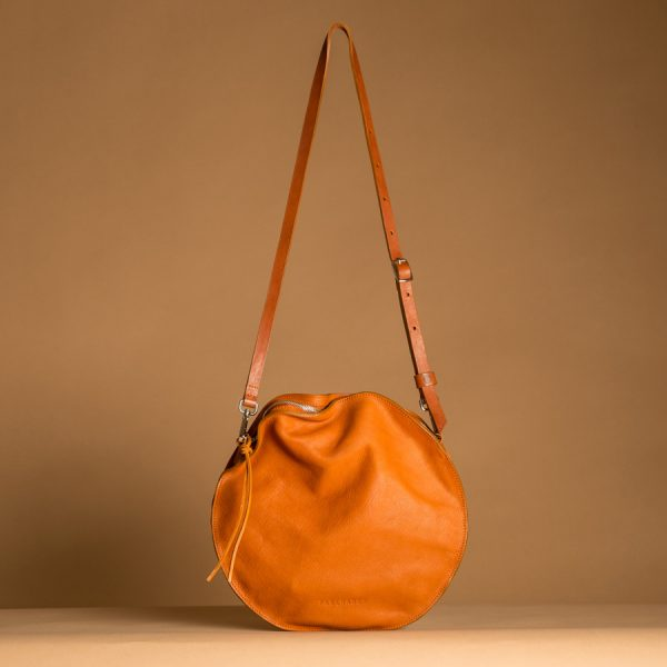 Faulhaber Products front view of VE smooth handbag in cognac vegetal tanned leather